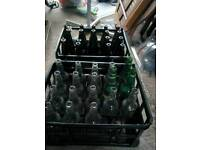 Home brew Glass bottles and milk crates