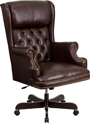 High Back Traditional Tufted Brown Leather Executive Office Chair Brown Chair