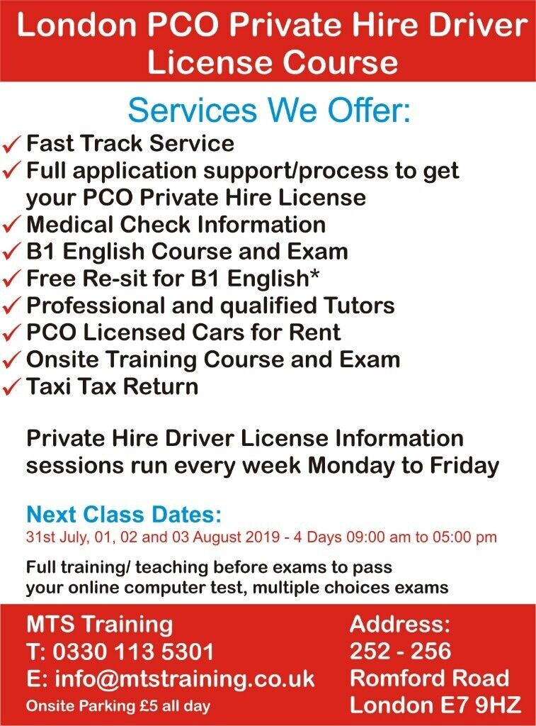 PCO London Private Hire Driver Course in Forest Gate London