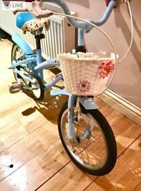 "Kids' Bike, 3-7 year olds 16"" bike, powder blue, good condition, hardly used, excellent gift"