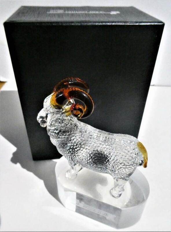RARE CATHAY BANK CRYSTAL GLASS YEAR OF THE SHEEP-GOAT PAPERWEIGHT FIGURINE