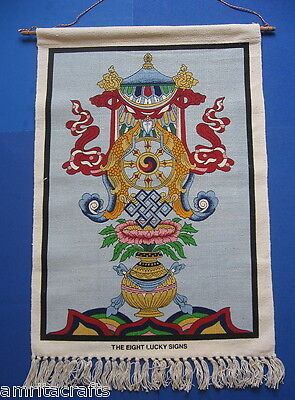 TIBETAN BUDDHISM EIGHT LUCKY SIGNS CANVAS WALL HANGING INDIA (Eight Lucky Signs)
