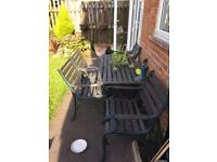 Cast wrought iron table and chairs set