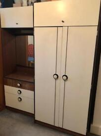 Lovely vintage art deco wardrobe, dresser and mirror - collection from peckham