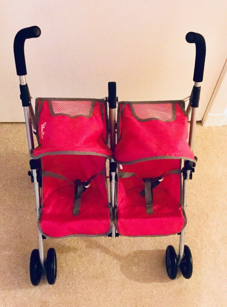 Silver Cross Dolls Double Buggy. Pink.