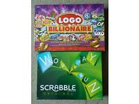 BRAND NEW SEALED BOARD GAMES. SCRABBLE AND LOGO BILLIONAIRE.