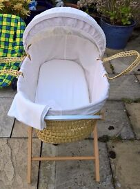 Baby Moses basket with stand, mattress and bedding
