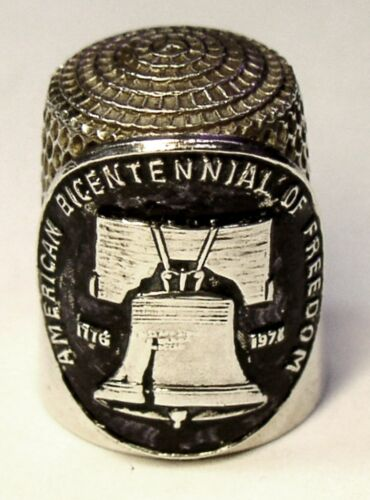 """Vint. Simons Bros Sterling Silver Thimble  Applied """"Liberty Bell"""" Freedom Disk"""