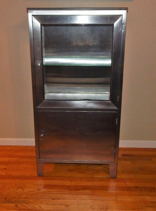 Vtg Mid Century Stainless Steel & Glass Medical Cabinet with Shelves NO SHIPPING