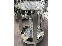 Round crushed crystals corner tables in 3 sizes