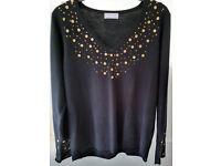 Per Una (M&S) Black V Neck Sweater With Embellishments Size 16