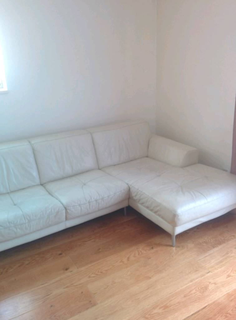 Beautiful White Leather Corner Sofa ONO