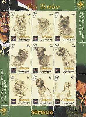 DOG CANINE THE TERRIER SOMALIA 2002 MNH STAMP SHEETLET