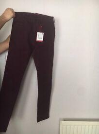 Zara men's jeans, Brand NEW, size xs, Bordeaux colour