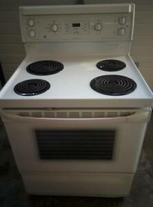 "GE GRCL3640TM-2  Range electric stove,  convection oven 30""  working condition, white in color_used"