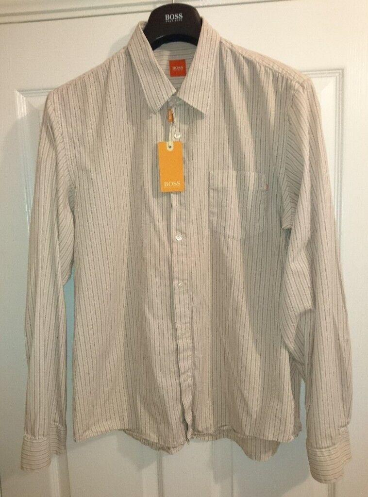 7c81387ef Hugo Boss Orange Label Beige Stripe Shirt XL Tailored Fit Long Sleeve As  New Condition