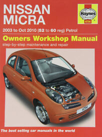 nissan micra workshop manual covers 2003 to 2010. almost new