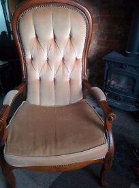 An Attractive beige Edwardian Style Fireside Chair