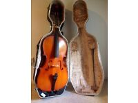 Cello with a hard case, suitable for beginners, in good condition.