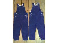 Baby Boden, 3 - 4 years, boys blue cord dungarees x3