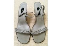 New Silver Satin & Diamanté Beaded Sling Back Strappy Sandals/Shoes Size: 41. Designed: Spain: Prom