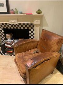 Vintage leather 60s armchair