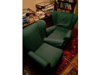 1950s Sofa with two matching Armchairs, Green