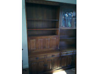 Old Charm style solid oak sideboard bureau bookcase pair of display cabinets and bases