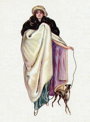 ITALIAN GREYHOUND CHARMING DOG GREETINGS NOTE CARD LADY WALKS WITH DOG