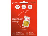 BRAND NEW UK VODAFONE SIM CARD 4G NEW NUMBER + PRELOADED WITH £30 POUNDS