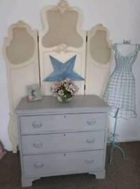 Old vintage shabby chic chalk painted duck egg chest of drawers