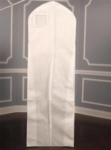 bridal gown dress breathable white zippered garment bag with plastic pocket ebay. Black Bedroom Furniture Sets. Home Design Ideas