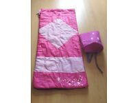 Child's Pink Sleeping Bag with Matching Carry Case/Rucksack