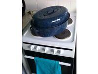Beautiful, large enamel roasting pan