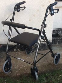 Four Wheel Travel Walker With Seat