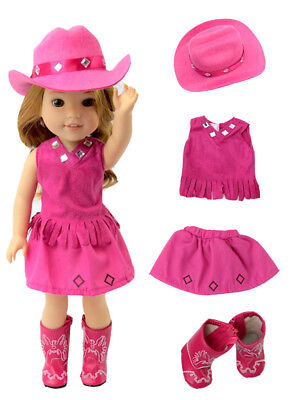 14.5 INCH DOLL:Hot Pink Little Cowgirl Outfit  by American Fashion World New