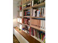 Handmade Bespoke Large Bookshelf & Cupboards