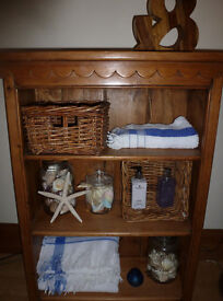 Antique Vintage Old Pine BOOKCASE STORAGE Shelves Bedside Cabinet Bathroom Kitchenalia DVD's CD's