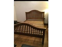 Robust Solid Oak Curved King Size Bed Frame, Excellent condition