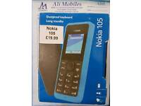 Brand New Nokia 105 Unlocked Black And Blue Colour Fully Boxed Up