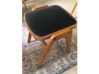 Vintage black leather stool x 2