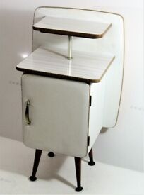 A gorgeous 1950s small bedside cabinet / table on dansette legs double top unit