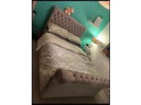 Velvet Chesterfield Bed