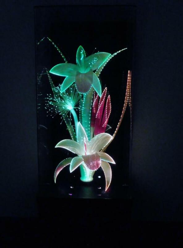Vintage Fiber Optic Flower Motion Lamp with Music Box Plays