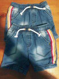 2 pairs Boys jean shorts 18-24 months £1 each