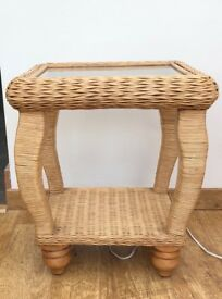 Cane And Glass Side Table x2
