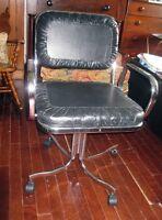 Chaise de Bureau Vintage en Cuir et en Chrome