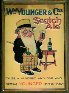 WM YOUNGER SCOTCH ALE VINTAGE STYLE METAL  SIGN