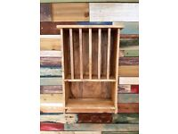 Rustic Hardwood Plate Rack Wall Storage Farmhouse Country Kitchen Style