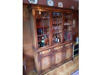 Reproduction mahogany finish cabinet 1985mm high x 1500mm wide x 400mm deep